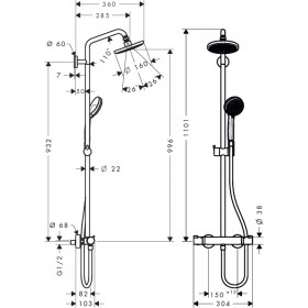 Фото 1 Душевая система Hansgrohe Croma 160 Showerpipe (27135000)