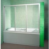 Фото Штора на ванну 100 см. Каркас - белый. Витраж - полистирол (капли)