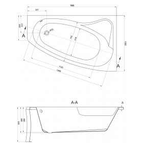 Фото 2 Ванна акриловая Cersanit Sicalia 150x100 правая + ножки