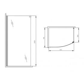 Фото 3 100-06084 Душевая стеклянная стенка Aquaform SOLITARE Walk-in 100х80 правая