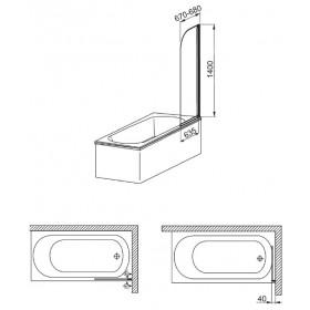 Фото 3 170-06977 Штора на ванну Aquaform Modern 1 (R) 67x140 satinato|chrome