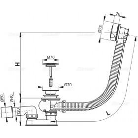 Фото 3 Сифон для ванны автомат AlcaPlast A51CRM (пласт.хром)
