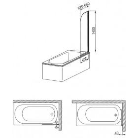 Фото 3 170-06990 Штора на ванну Aquaform Modern 1 67x140 transp|chrome