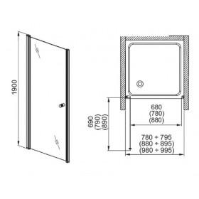 Фото 4 103-05557 Душевая дверь в нишу Aquaform SILVA 90 правая