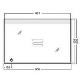Фото 2 0409-120002 Зеркало Aquaform HD COLLECTION 90 c опциями