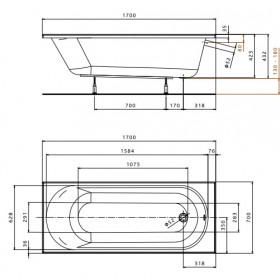 Фото 2 Ванна акриловая Kolo Opal Plus 170 + ножки SN0