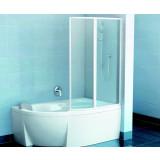 Фото Штора на ванну VSK2 - Rosa II 150R правая. Каркас - белый. Витраж - полистирол (Rain)
