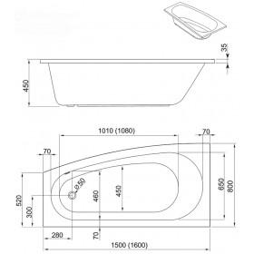 Фото 2 241-05153 Ванна Aquaform SIMI 150x80 левая