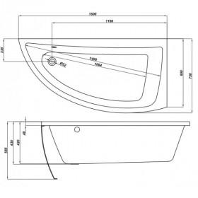Фото 2 Ванна акриловая Cersanit Nano 150х75 левая + ножки