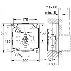 Фото 1 Скрытый блок для мех.смыва писсуара Grohe Rapido UMB инфрокр.электр. (38787000)