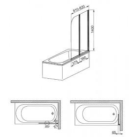 Фото 3 170-06963 Штора на ванну Aquaform Modern 2 81x140 transp satin